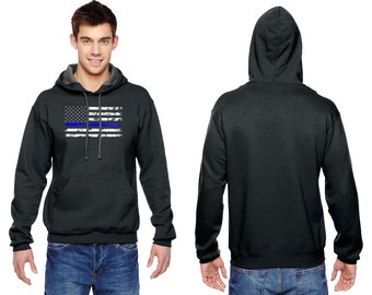 Thin Blue Line - Adult Hoodie - Unisex 7.2 oz. Sofspun™ Hooded Sweatshirt by Fruit of the loom