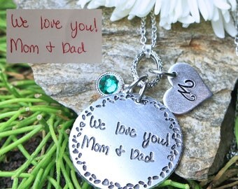 Handwriting necklace, Actual Handwriting Jewelry, Long Quote can be added, handwritten pendant signature necklace personalized gift memorial