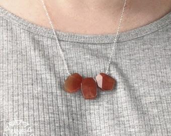 "Red CARNELIAN Agate Minimalist Simple Silver 18"" Mini Bib Necklace - Handmade Wire Wrap Jewelry Natural Crystal - July August LEO Birthstone"