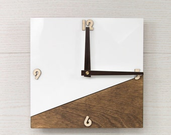 House wall clock - Square wall clock - Organic glass clock - White wall clock - Wooden wall clock - Modern wall clock - Office decor