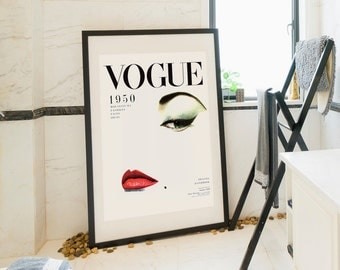 Vintage Vogue Cover, Fashion wall Art, 1950 Edition, Fashion Poster, Printable Poster, Printable Wall Art, Wall Art Decor, Vintage print