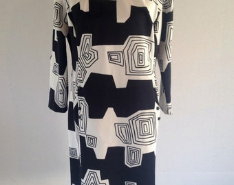 Vintage Psychedelic Print Black and White Mod Dress | 1960's | 1970's