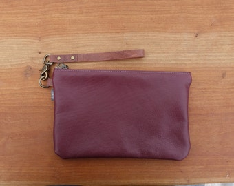 Leather Clutch - Cranberry Leather Zipper Pouch, Detachable Leather Strap, Bridesmaid Gift, Gifts for Her, Fall Style, Brass Clasp