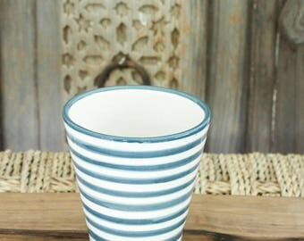 Set of two Moroccan Coffee Cups - Grey/Blue and White 'Striped'