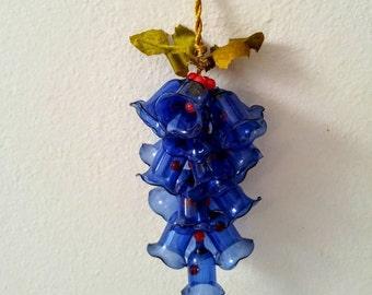 Cobalt Blue Bells Vintage Blue Glass Strung Bells Gold Rope Holly Berries 1950's Holiday Decor Christmas Bells Cluster
