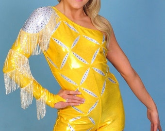 Dazzling Gold/ Silver Mystique + Fringe/Rhinestones Biketard DANCE/SKATE or CHEER Costume