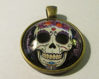 """Bronze Glass Dome Cabochon Pendant of Sugar Skull with Flowers, 1"""""""