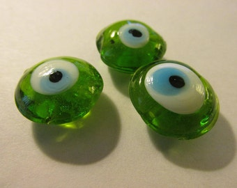 Lime Geen Evil Eye Glass Beads, 15mm, Set of 3