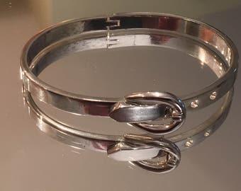 Sterling Silver Buckle Bangle Bracelet ~ 925