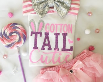 Cotton Tail Cutie/ Easter Outfit/ baby girl onesie/ Sweet Sparkle