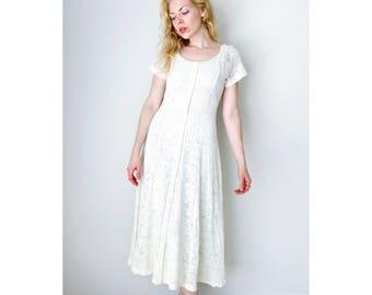 vintage cream dress button front maxi dress summer dress knitted short sleeve engagement bridal shower