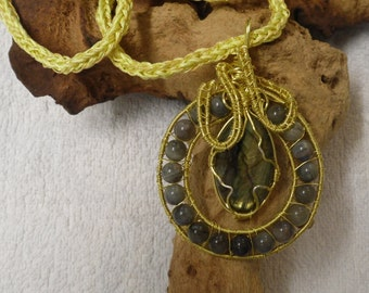 Labradorite Pendant Large on a Hand Knitted Neck Rope