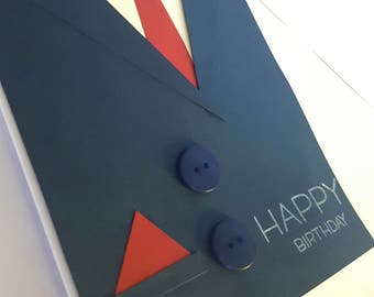 Suit Greeting Card, Handmade Card, Birthday Card, Retirement Card, Father's Day Card