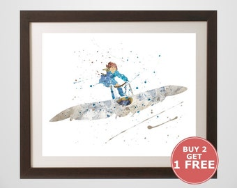 Nausicaa of the Valley of the Wind Print, watercolor, home arts, decor, cartoon kids children Illustration, Gift, Anime Poster YC523