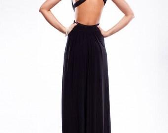 Maxi Black Dress, Full length Dress, Long Black Gown Dress, Open Back Dress, Evening Dress