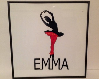 Custom Made Ballerina girls Framed Vinyl Record Silhouette Art
