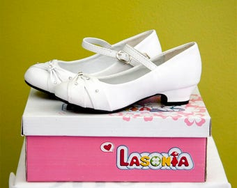 Girls White Communion or Special Occasion Dressy Shoes with Buckle Strap Tie and Rhinestones/ One inch heel