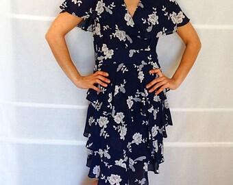 Asymmetric dress with raffles womens summer dress sleeveless womens dress midi summer dress floral blue white dress vintage 1980s Size US 8
