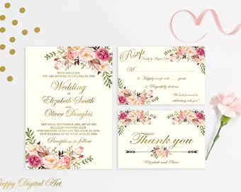 Floral Wedding Invitation Printable Wedding Invitations Suite Gold Foil Typography Boho Wedding Set Bohemian Chic  Spring / Summer Wedding