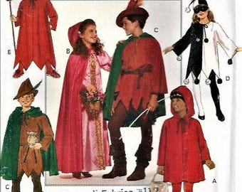 Halloween Costume Fairytales Butterick Pattern #5673 Child Sizes 4/5 6/7 8/10 12/14 Robin Hood Maid Marian Little Red Riding Hood USED 1991