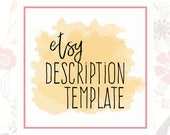 Etsy Description Template - Etsy Product Template - Etsy Help - Etsy SEO - Description Writing - Etsy SEO Help - Help with Etsy