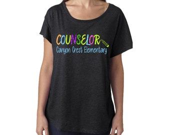 Glitter School Counselor Dolman Shirt| School Counselor Boatneck Tee