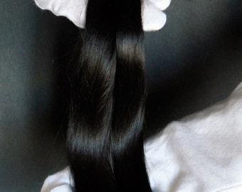 Baby Suri Alpaca hair for dolls deep black . Fiber for Bjd doll, Blythe wig, for reroot scalp, ready   washed,  minifee