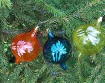 Vintage Holiday Christmas Ornaments Tree Ornaments flower ornament vintage xmas Mercury Glass Ornaments vintage ornament set christmas balls