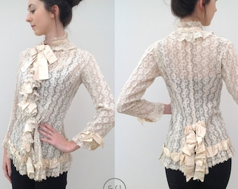 Magnificent Victorian lace jacket blouse silk vintage antique