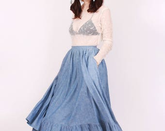 Chambray Ralph Lauren Prairie Skirt