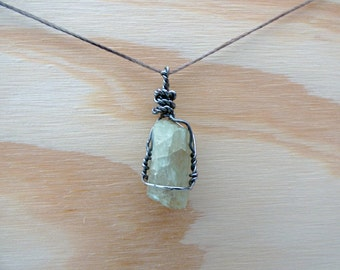 Real Raw Cut Pale Yellow Spodumene Crystal Pendant Necklace