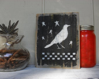 Country Primitive Crow & Stars Reclaimed Wood Wall Art Rustic Farmhouse Folk Art Americana Distressed