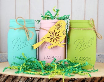 Easter basket ideas etsy easter mason jar centerpieces spring mason jars easter decorations spring decorations spring negle Images