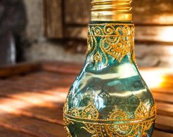 Flower vase, lightbulb vase, bohemian jar, wedding decor, painted vase, henna painted glass vase, table decor, cylinder vase, morrocan jar