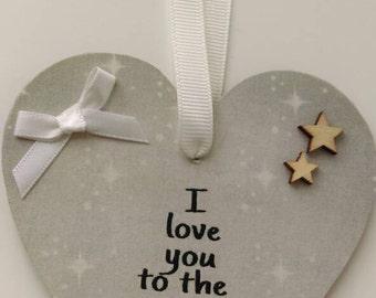 I love you to the moon and back, hanging heart, nursery decor, bedroom decor, New baby gift, neutral heart, heart keepsake, baby keepsake