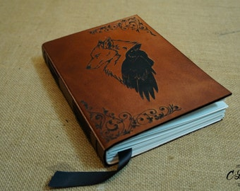 A5, Leather Journal, Unique Handmade, Wolf Crow, Custom Journal Classic Personalized Journal, Notebook Diary, Gift, recycled paper, initials