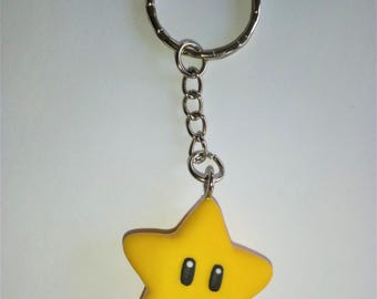 Super mario star key chain nintendo power up