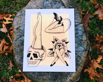 Furry Legs Tattoo Flash Print
