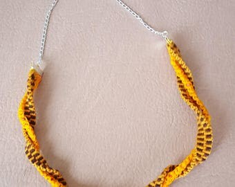 Brown, Orange and Mustard Yellow Organza  and Yarn , Kumihomo and Macrame blended Necklace with Silver Chain Extensions