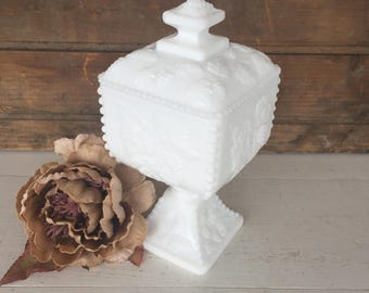 Vintage Milk Glass Candy Dish with Lid, Compote, Vase, Planter, Westmoreland, Centerpiece, Wedding Decor, White, Cottage Chic, Farmhouse