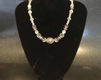 Clear & Silver Beaded Necklace