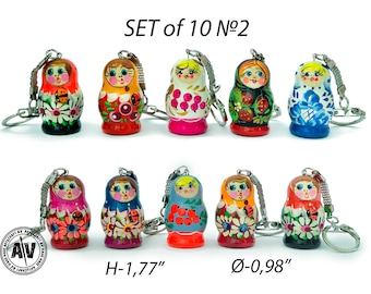 Matryoshka doll Сute keychains Nesting dolls keychain Wooden keychain Babushka doll Keychains for women Cheap keychains Russian dolls Set 10