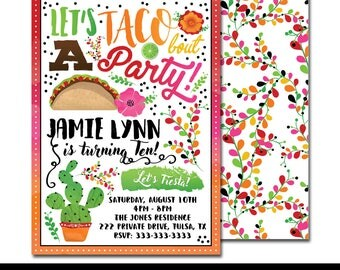 "Taco Bout a Fiesta Digital Printable Girls Mexican Cactus Rainbow Floral Watercolor Birthday Party 5x7"" Invitation PERSONALIZED"