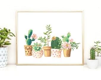 Cactus Wall Art sale free hugs botanical print cactus wall art tropical