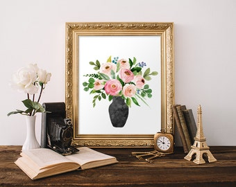 Bouquet, Watercolor Decor, Floral Painting Print, Wall Art, Canvas Print, Watercolor Flowers, Still Life Art Print, Floral Painting Print