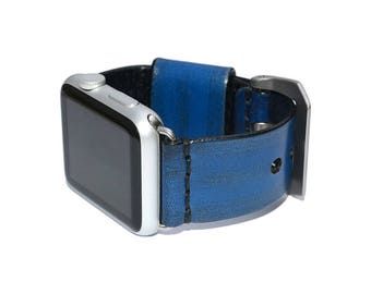 Blue Leather Apple Watch Band 38mm - 42mm / Apple Watch Accessories, Leather Apple Watch Strap, iWatch Band Leather, Lugs Adapter