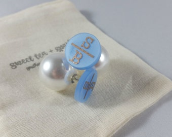 Double Initial Round Acrylic Monogram Pearl Back Earrings