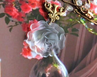 Art Deco necklace, rose, Lalique like, 1950, frosted glass, flower, vintage brass, vintage assemblage, handmade in France, chez Sylvie/082
