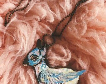 Winged Fawn Wooden Necklace - 24in Chain - Handmade