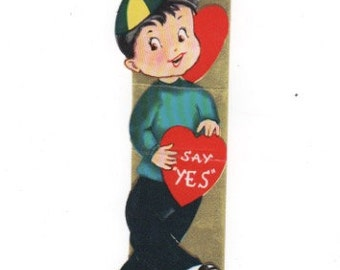 Don't be Tough-- Say Yes. Vintage Valentine 1950s. Mid Century collectible ephemera. Gold accents.